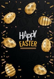 Szczęśliwa wielkanocna karta z literowaniem i złotymi jajkami malował wektorowego ilustracyjnego projekt