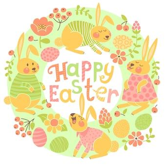 Szczęśliwa wielkanocna karta z ślicznymi królikami i barwionymi jajkami.