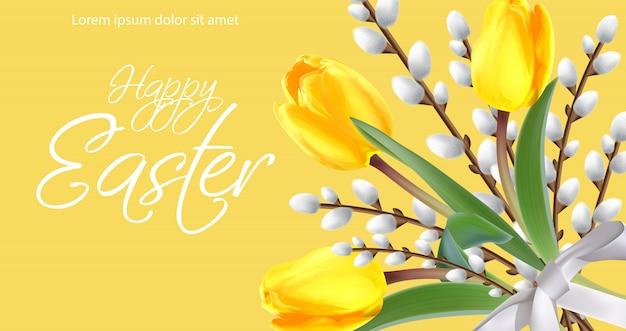 Szczęśliwa wielkanocna karta z żółtymi tulipanami