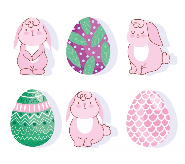 Szczęśliwa wielkanocna różowa królików i jajek dekoracja