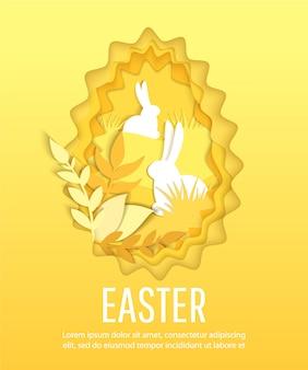 Szczęśliwa wielkanocna scena z jajkami i królikami.
