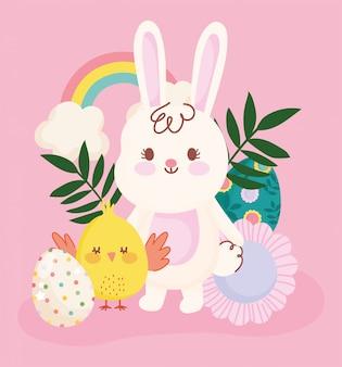 Szczęśliwa wielkanocna śliczna królika i kurczaka jajko kwitnie tęczową dekorację