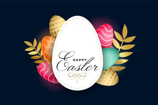 Szczęśliwa wielkanocna świętowanie karta z kolorowymi jajkami