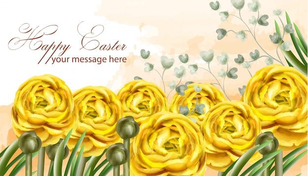 Szczęśliwa wielkanocna żółta karta kwitnie akwarelę