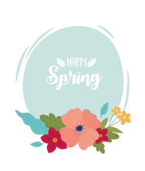 Szczęśliwa wiosna napis kwiaty liście okrągłe karty
