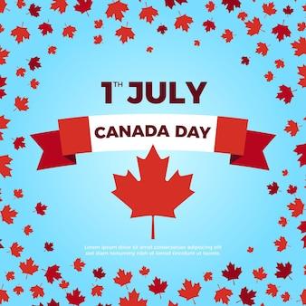 Szczęśliwa wstążka dnia kanady otoczona liśćmi klonu