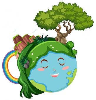 Szczęśliwa ziemia z zielonymi roślinami i górą