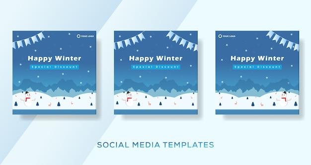 Szczęśliwa zima płaska konstrukcja szablon transparent na post w mediach społecznościowych.
