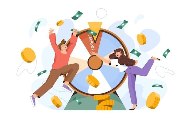 Szczęśliwcy ludzie w pobliżu koła fortuny wygrywają milion. szczęśliwi milionerzy trafili w dziesiątkę w kasynie. nagroda pieniężna w grze losowej. płaskie kobiety i mężczyźni zwycięzcy z wirującą ruletką lub obracającym się kołem.