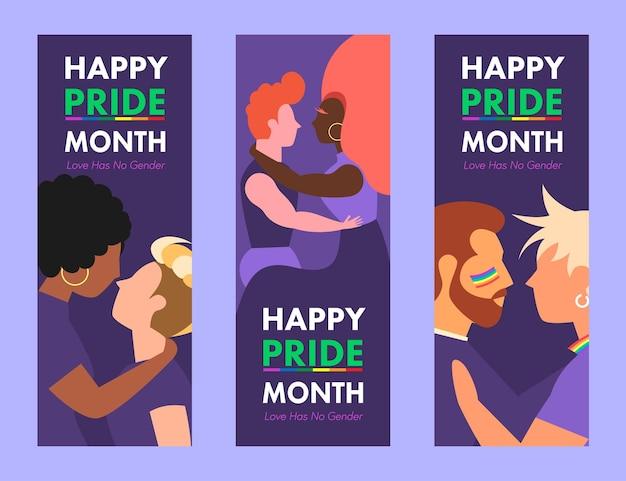 Szczęśliwe banery lgbtq z okazji miesiąca dumy