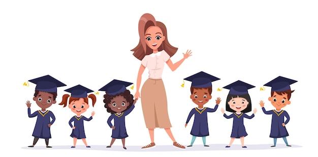 Szczęśliwe Dzieci Absolwentów Noszących Akademickie Suknie I Czapki. Wielokulturowe Dzieci Z Nauczycielem Wspólnie świętują Ukończenie Przedszkola Premium Wektorów