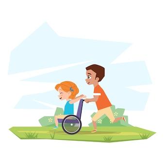 Szczęśliwe dzieci bawią się w przyrodzie. chłopiec jedzie niepełnosprawną dziewczynę