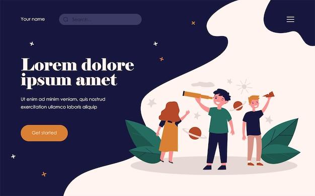 Szczęśliwe dzieci bawiące się i odkrywające wszechświat. teleskop, zabawa, ilustracja wektorowa płaskiej planety. koncepcja gry edukacyjnej i edukacyjnej dla banera, projektu strony internetowej lub strony docelowej
