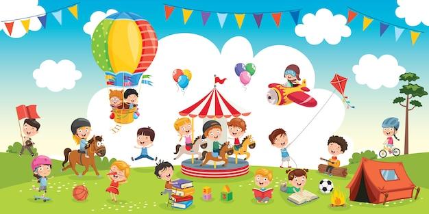 Szczęśliwe dzieci bawiące się krajobraz ilustracja
