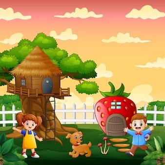 Szczęśliwe dzieci bawiące się na ilustracji parku