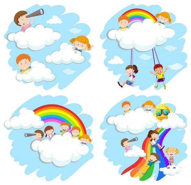Szczęśliwe dzieci bawiące się na ilustracji tęczy