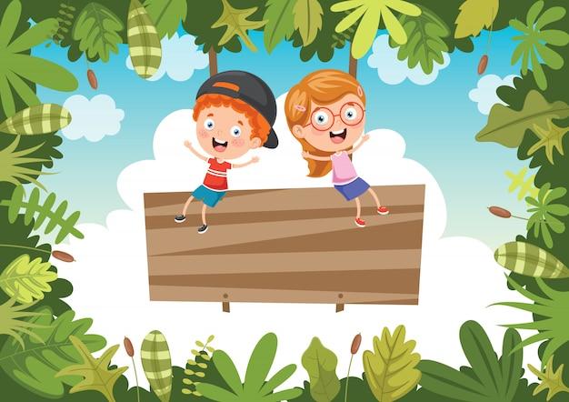 Szczęśliwe dzieci bawiące się w dżungli