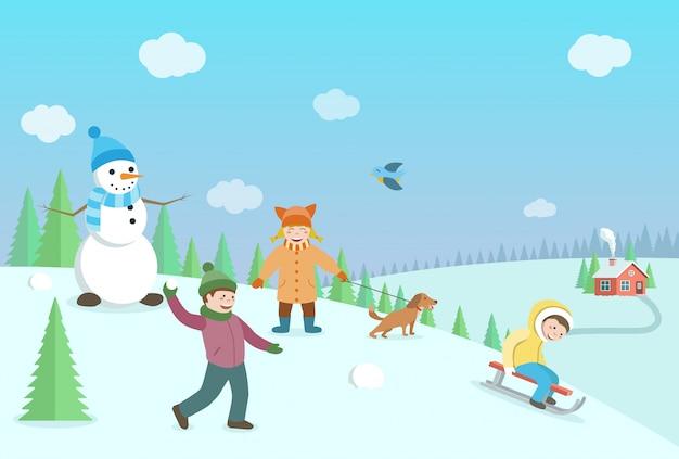 Szczęśliwe dzieci bawiące się w zimowe gry. zimowy krajobraz z lasem i wzgórzami. ilustracja płaski