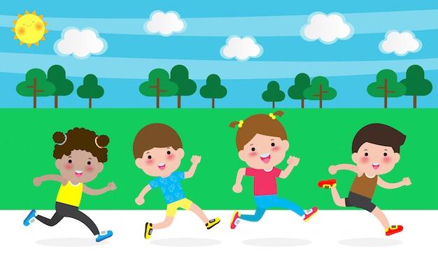 Szczęśliwe dzieci biegające dla zdrowia. postać z kreskówki dzieci biega ilustrację odizolowywającą dalej.