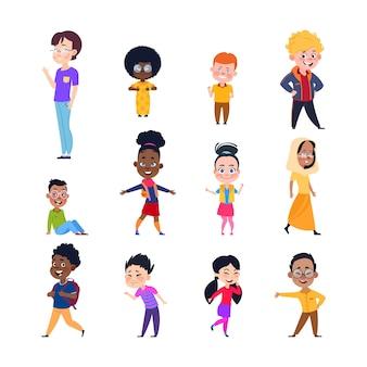 Szczęśliwe dzieci. cartoon europejskich, azjatyckich i afrykańskich dzieci. chłopcy i dziewczęta w zwykłych ubraniach. znaki na białym tle wektor