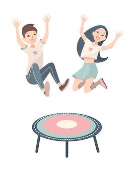 Szczęśliwe dzieci, chłopiec i dziewczynka skaczące na trampolinie. wektorowa kolorowa ilustracja.