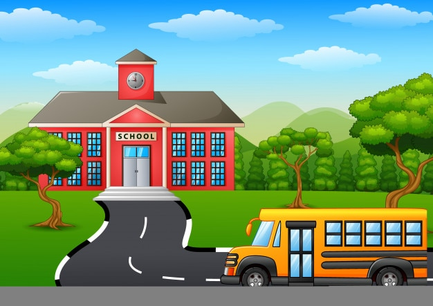 Szczęśliwe dzieci chodzą do szkoły z autobusu szkolnego