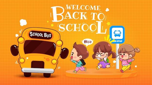 Szczęśliwe dzieci czekają na autobus szkolny z przyjaciółmi ilustracja kreskówka sztuki
