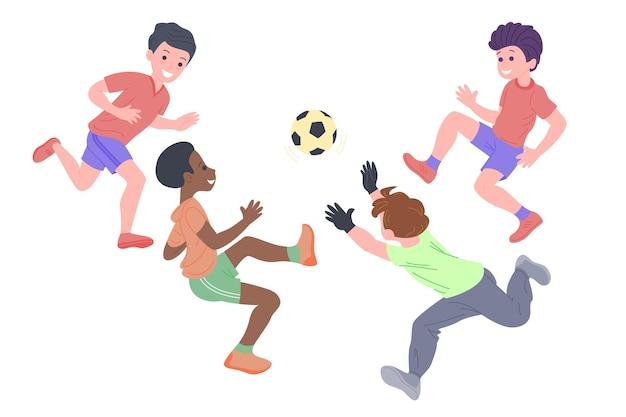 Szczęśliwe dzieci gry sportowe. chłopiec i dziewczynka robi ćwiczenia fizyczne. dzieci grające w piłkę nożną. aktywne zdrowe dzieciństwo. płaskie wektor ilustracja kreskówka na białym tle