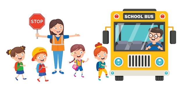 Szczęśliwe dzieci i autobus szkolny