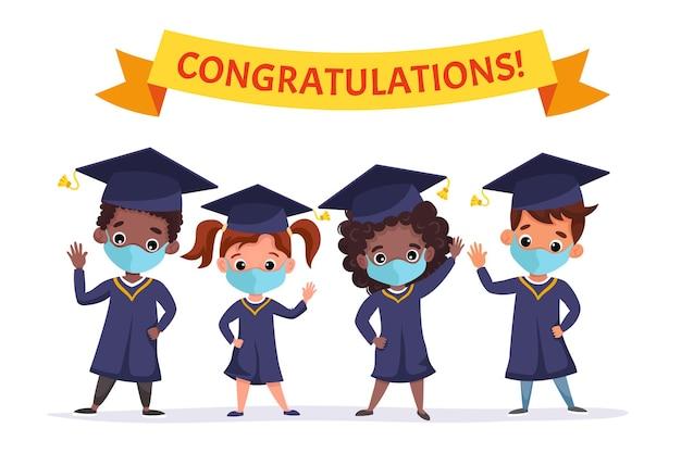 Szczęśliwe dzieci, które ukończyły studia, noszą maski medyczne, akademicką suknię i czapkę. wielokulturowe dzieciaki wspólnie świętujące ukończenie przedszkola. ilustracja kreskówka płaski.