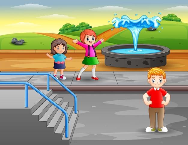 Szczęśliwe dzieci na ilustracji parku