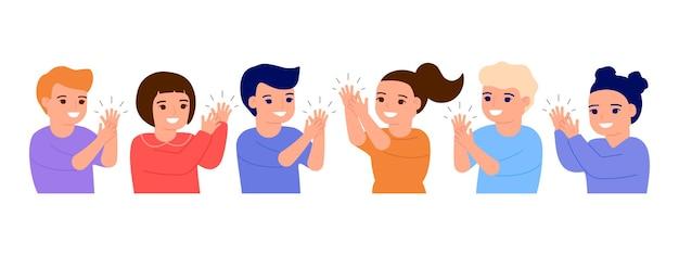 Szczęśliwe dzieci oklaski klaszczą w dłonie uśmiechnięte małe dzieci powitanie witamy gratulacje