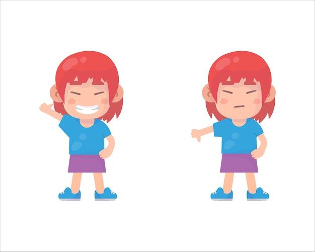 Szczęśliwe dzieci pokazują gest ręki kciuk w górę i kciuk w dół