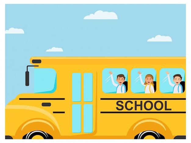 Szczęśliwe dzieci powrót do szkoły płaska konstrukcja