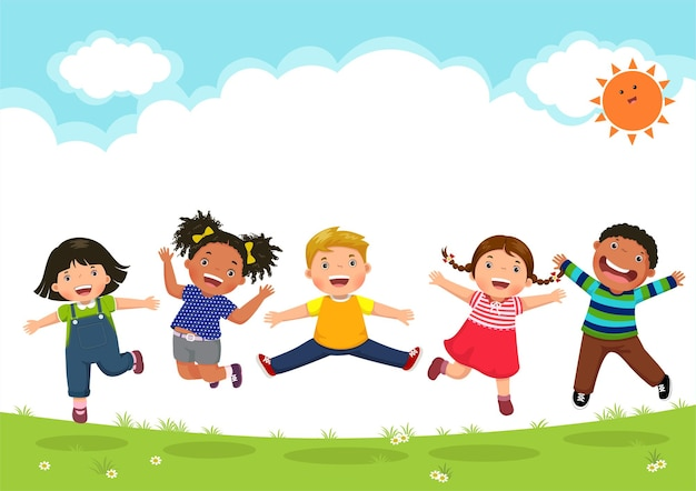 Szczęśliwe dzieci razem skacząc w słoneczny dzień