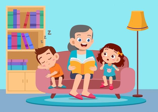 Szczęśliwe dzieci słyszą historię od babci