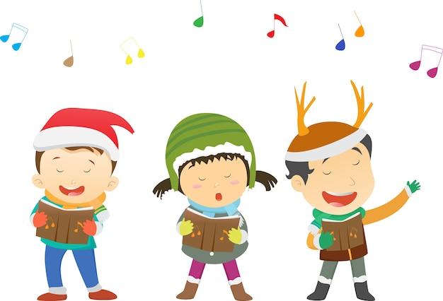 Szczęśliwe dzieci śpiewają kolędy