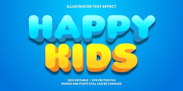 Szczęśliwe dzieci tekst efekt niebieski i pomarańczowy kolor