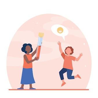 Szczęśliwe dzieci trzymając dużą kolbę z krwią. pandemia, koronawirus, ilustracja wektorowa płaskiej diagnostyki. medycyna i analiza