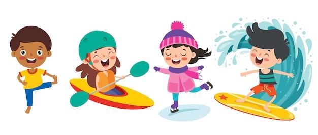 Szczęśliwe dzieci uprawiające różne sporty