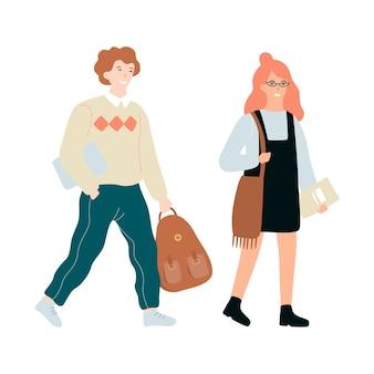 Szczęśliwe dzieci w wieku szkolnym stojąc razem. dziecko z plecakiem