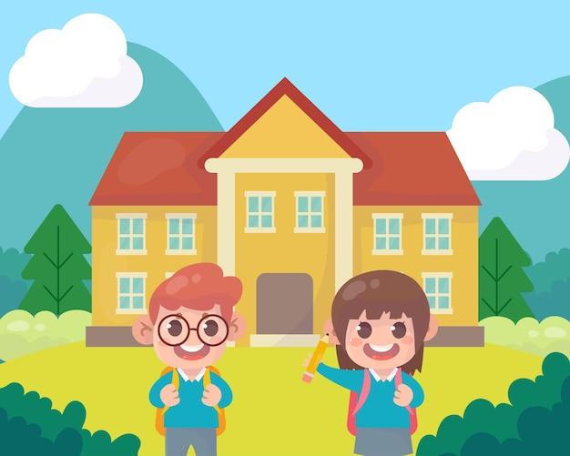 Szczęśliwe dzieci wracają do szkoły