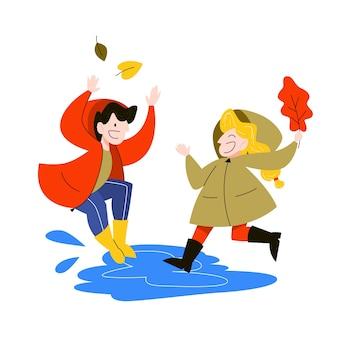 Szczęśliwe dzieci wskakują do kałuży w deszczu. jesienna pogoda, dziewczyna i chłopak bawią się. ilustracja