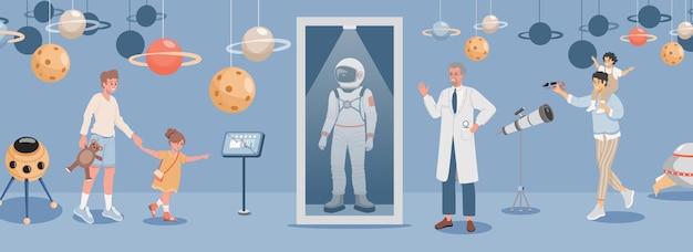 Szczęśliwe dzieci z rodzicami na wycieczce w kosmicznej ilustracji muzeum