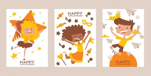 Szczęśliwe dzieciństwo zestaw kart plakatów wielorasowe dzieci w wieku szkolnym chłopcy i dziewczęta skaczący