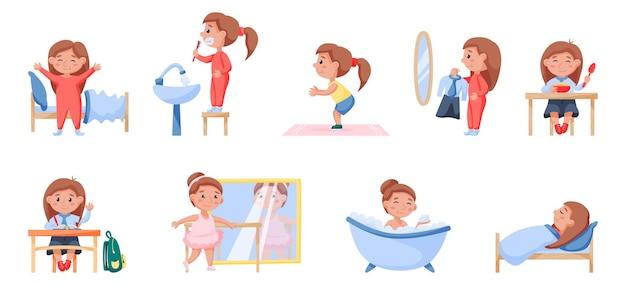 Szczęśliwe dziecko codzienne rutynowe zdrowie i higiena zestaw aktywności. ładna dziewczyna obudzić się, umyć zęby, zrobić poranne ćwiczenia, sukienka, jeść, nauka, taniec, kąpać się, spać w łóżku wektor ilustracja na białym tle