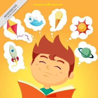 Szczęśliwe dziecko czytania w tle
