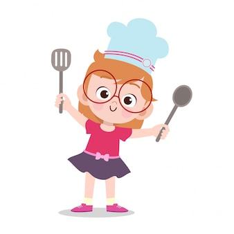 Szczęśliwe dziecko gotowanie szefa kuchni