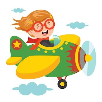 Szczęśliwe dziecko latające w samolocie