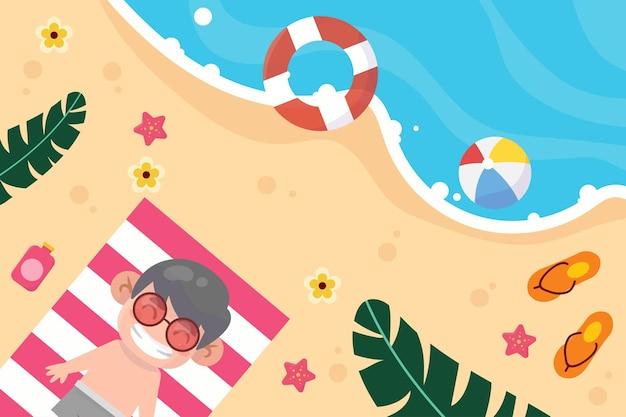 Szczęśliwe dziecko na ilustracji wakacje na plaży